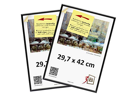 3-B Set 2 STK. - Bilderrahmen Foto - 29,7x42 cm (A3)- schwarz - Fotorahmen, Kunststoffrahmen mit Polyesterglas. Sparpaket!