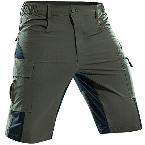 Cycorld MTB Hose Herren Fahrradhose mit Gepolstert, Schnelltrocknende MTB Shorts Herren Mountainbike Hose Baggy Bike Shorts, Atmungsaktiv Radhose mit Verstellbaren Klettverschlüssen (Grün,S)