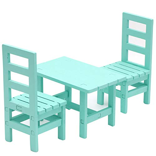 Yiifunglong Casa de muñecas de casa de muñecas Real-like Scenery Accesorio de madera Mini silla de comedor Modelo Decoración para jugar - Azul