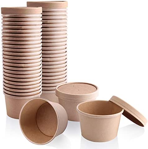 50 Pack 8 oz Kraft Compostable Paper Food Cup with Vented Lid Brown Rolled Rim Storage Bucket product image