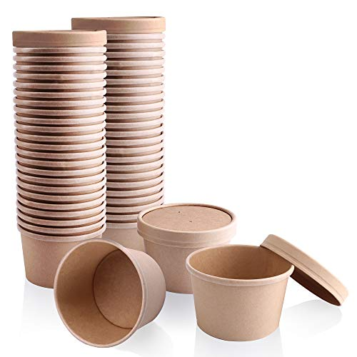 [50 Pack] 8 oz Kraft Compostable Paper Food Cup with Vented Lid - Rolled Rim Storage Bucket, Hot or Cold Dish To Go Packaging, Ramen Soup Stews Salad Frozen Dessert Yogurt Ice Cream Container