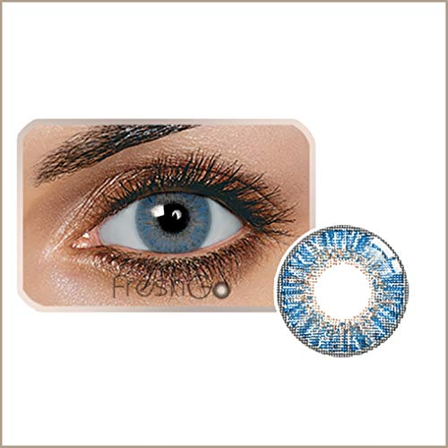 Farbige Jahres Kontaktlinsen braun, blau, grün, grau, türkis weich, ohne Stärke als 2er Pack (2 Stück)- mit Aufbewahrungsbox, angenehm zu tragen, perfekt für helle und dunkle Augen, Party (Blau)