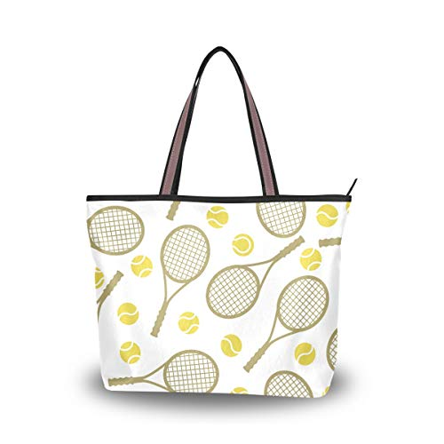 JSTEL Women Large Tote Top Handle Shoulder Bags Tennis Rackets And Balls Patern Ladies Handbag