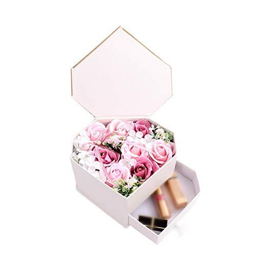 Gyubay Confezione Regalo di Fiori di Rosa e Sapone Creativo del Sapone di Bagno della Rosa Fiore Set Regalo for Donna cassetto a Forma di Cuore Box Sapone Regalo di San Valentino Fiore Regalo CR