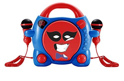 BigBen Interactive My Billy CD-speler met 2 microfoons en 5 pagina's stickers (LED, hoofdtelefoonaansluiting, herhalings- en programmafuncties, CD/Micro-volume) rood/blauw