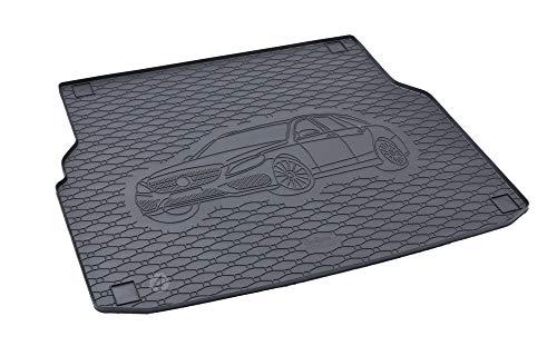 Passgenau Kofferraumwanne geeignet für Mercedes C-Klasse S205 ab 2014 ideal angepasst schwarz Kofferraummatte + Gurtschoner