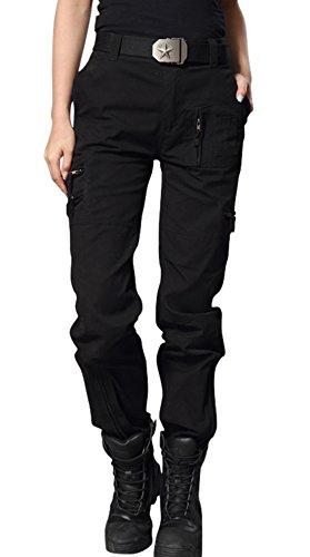 chouyatou Women's Military Straight Fit Stylish Combat Cargo Slacks Pants (Medium, Black)