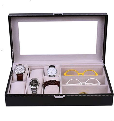 SHANCL Vetro dell'esposizione cassetto Bicchieri di Caso di Esposizione Storage Case Occhiali Organizzatore smistamento Box Occhiali da Sole Orologi Show Case (Color : Black, Size : 37X20.5X8.5CM)