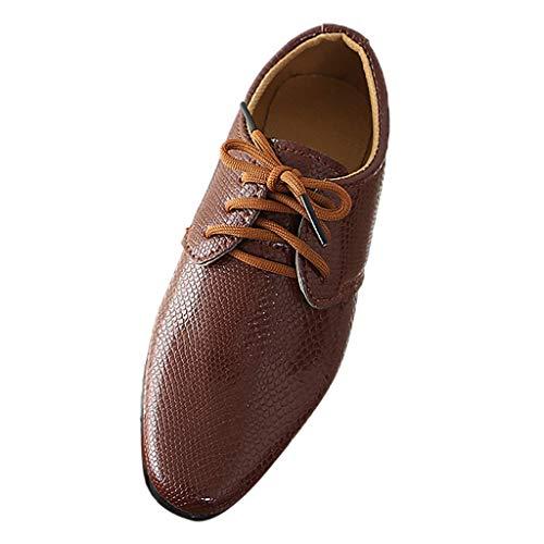Kinder Jungen Derby Schuhe Lederschuhe Britischen Stil Halbschuhe Schnürhalbschuhe Performance Student Businessschuh Freizeitschuhe, Brown, 34 EU