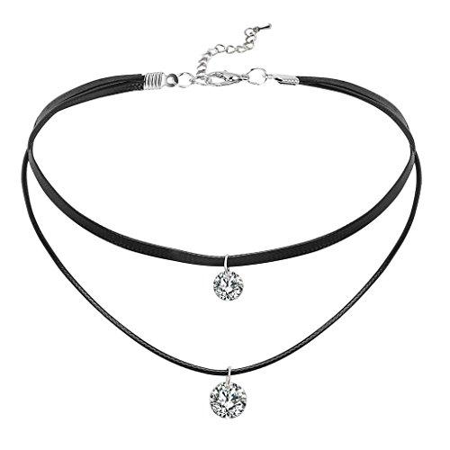 Daesar Damen Choker Halskette Halsband Seil Leder 2 Runde Zirkonia Halsband Halskette Silber Schwarz Kette 34.5CM (+6.5cm Verlängern)