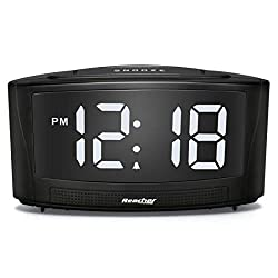 REACHER Dim Alarm Clock with Dual USB Charger 0-100 Dimmer and 30-85DB Adjustable Alarm Volume, Easy Snooze, Big White LED Numbers,12/24Hr and Simple Operation Black