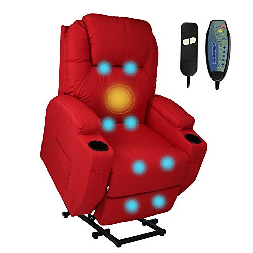 LUCKYERMORE Power Lift Electric Recliner Chair with Heated Vibration Massage for Elderly People Adjustable Theater Recliner Sofa Furniture with Massage Remote Control for Living Room Bedroom,Red
