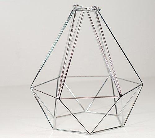 Lampenschirm, Diamant-Design, Drahtgestell, silbern verchromt
