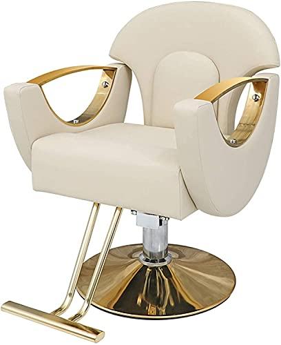 GANE Sillón de barbero, sillón de peluquería, Estilo clásico hidráulico, diseño Minimalista Moderno, Estilo Ancho Giratorio, Equipo de Belleza Multiusos con Pedal Estable, Rosa