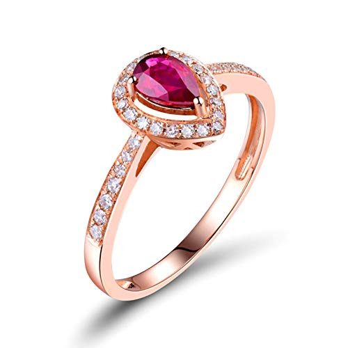 AnazoZ Anillo Rubi Mujer,Anillos de Boda de Oro Rosa de 18K Oro Rosa y Rosa Roja Gota de Agua Rubí Rojo 0.55 Diamante 0.21ct Talla 23,5