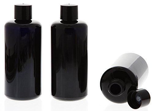 Miron Violettglas Flasche 200 ml m. schwarzer Kappe Kosmetex Violett Glas Flasche Schraub-Verschluß, leer, 3× 200 ml