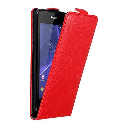 Cadorabo Hülle für Sony Xperia E3 in Apfel ROT - Handyhülle im Flip Design mit Magnetverschluss - Hülle Cover Schutzhülle Etui Tasche Book Klapp Style