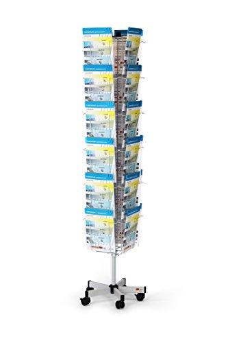 Fluhr Kartendrehständer mit 24 Fächern für Prospekte und Glückwunschkarten A4 im Hochformat, Silber