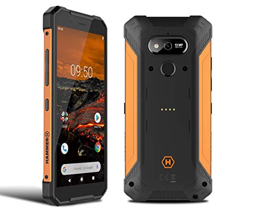 """HAMMER Explorer 5,7"""" HD+ Outdoor Handy, Militärstandard Smartphone, Mega-Akku 5000mAh mit schneller Ladung, Baustellenhandy mit Laserpointer, NFC, Wasserdicht/Stoßfest, LTE 4G, IP69, Dual SIM - Orange"""