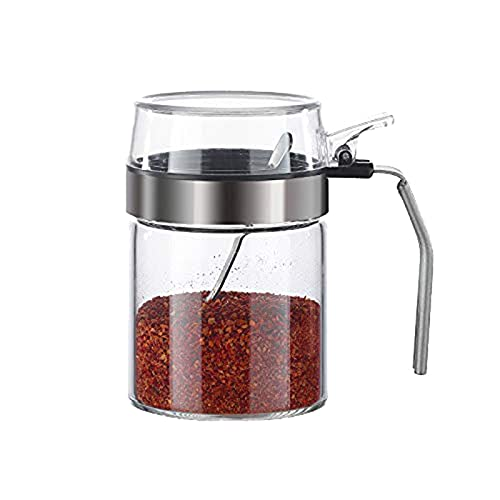 RJJBYY Spice Shakers Mini vidrio transparente Spice Jar Set con tapas herméticas Cuchara Accesorios de cocina tarro de especias