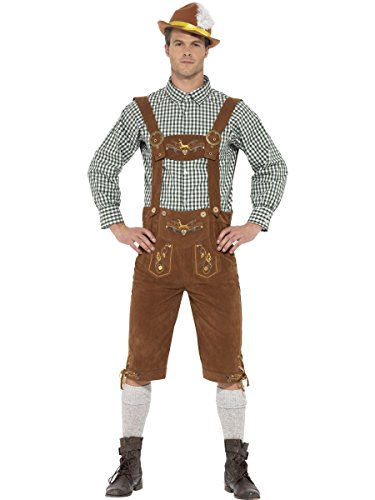 Smiffys Costume traditionnel Hanz le Bavarois Deluxe, Multicolore , avec culotte bavaroise, Taille M