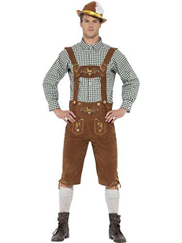 Smiffys Costume traditionnel Hanz le Bavarois Deluxe, Multicolore , avec culotte bavaroise, Taille L