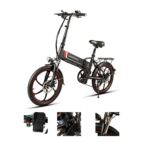 LCLLXB SIMEBIKE 20 Pulgadas neumático Gordo Bicicleta eléctrica 350W 48V Nieve E-Bici Beach Cruiser Hombre Mujeres Montaña e-Bike Pedal Assist, batería de Litio Frenos de Disco,Black