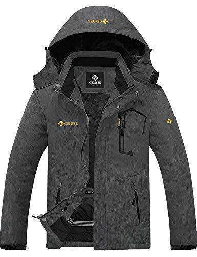 GEMYSE wasserdichte Skijacke für Herren Winddichte Fleece Outdoor-Winterjacke mit Kapuze (Graphitgrau,XL)