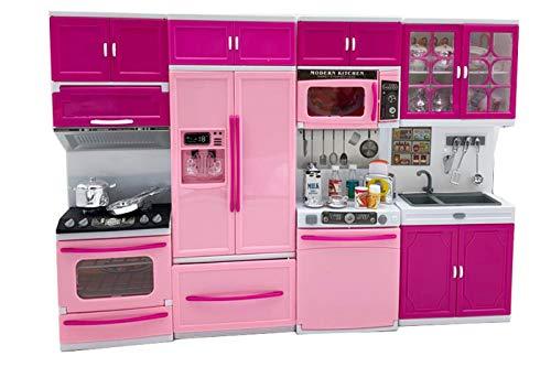 CLICLED Cucina Giocattolo per Bambole Gioco Bambine luci Suoni fornello frigo 45 x 30cm