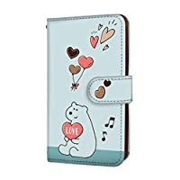 anve miraie f KYV39 国内生産 カード スマホケース 手帳型 KYOCERA 京セラ ミライエ フォルテ 【C.ブルー】 クマ ハート 可愛い best_vc-583