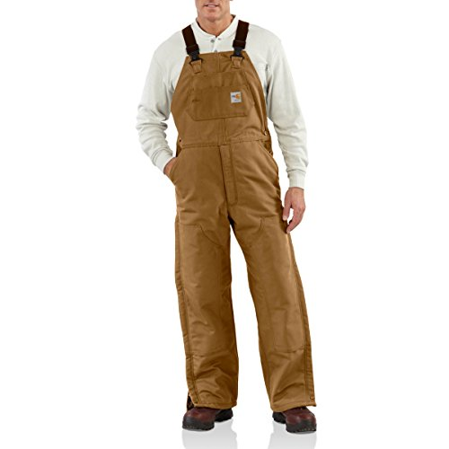 Carhartt Men's Flame Resistant Duck Bib Lined Overall, Brown, 34W x 30L