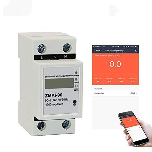 Disyuntor Aplicación Monofásico Din Carril Wifi Medidor De Energía Inteligente Consumo De...