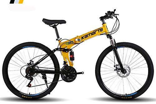 KTM Bicicleta de montaña Bicicleta Plegable Rueda de 24-26 Pulgadas, Tres Opciones de Cambio (21-24-27), neumático Especial Todoterreno,Yellow,24