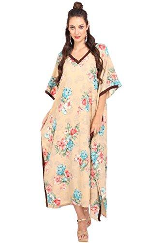 Miss Lavish London Damen Kaftans Kimono Maxi-Stil Kleid Anzug Jugendliche bis Erwachsene Frauen in Normalgröße - Braun - 44 DE/48 DE