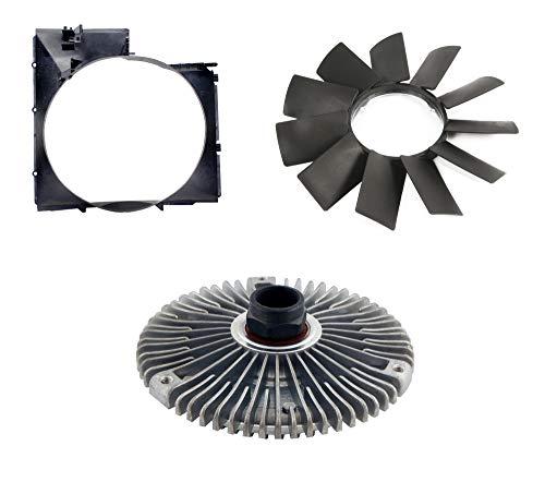 Three Piece Auxiliary Fan Kit for BMW E46 Vehicles with Fan Shroud, Fan Blade, and Fan Clutch - Heavy Duty