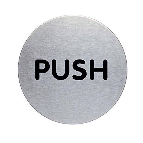 Durable 490065 Placa de puerta Picto redonda , Empuje, Ø 65 mm, plata metálica