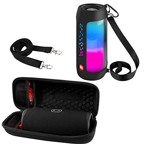 Hard Travel Case for JBL Charge 4 Waterproof Bluetooth Speaker with Silicone Case for JBL Pulse 4 - Waterproof Portable Bluetooth Speaker with Shoulder Strap - 2 Pack