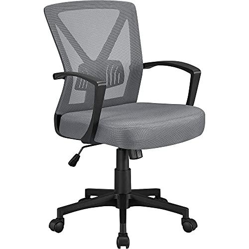 Yaheetech Bürostuhl, Ergonomischer Bürostuhl, Chefsessel Netz Stuhl Drehstuhl mit Verstellbarer Lordosenstütze Höhenverstellung und Wippfunktion Dunkelgrau