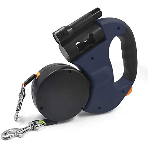 ZXY Double Dog Retractable Leash, 360° No-Tangle Retractable Double-Headed Dog Lead Tape with LED Light and Poop Bag Dispenser One Button Brake Lock Safety System,Blue