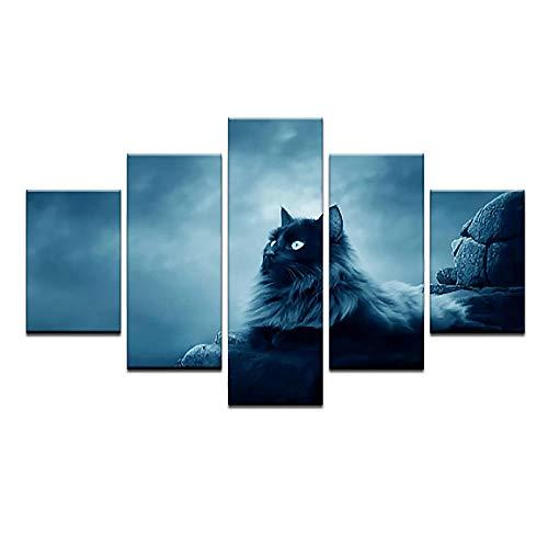 yuanjun 5 Juegos De Pinturas Impresión HD Pintura De Arte De Pared Pintura Moderna Pintura De Decoración del Hogarimpresión De Lienzo XXL Gato Negro Imprime Animales En Blanco Y Negro