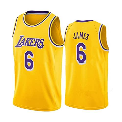 TINKOU Maglia Classica da Basket, Gilet Lakers 6# Morbido e Traspirante Senza Maniche, Top Sportivo per Adulti Adult