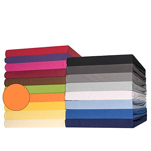 CelinaTex Lucina Topper Spannbettlaken 180x200-200x200 cm orange Baumwolle Spannbetttuch