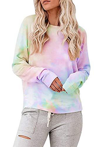 EFOFEI Damen Langarm Krawatte Dye Printed Casual Sweatshirts Hoodies Pullover Pullover Tops T-Shirts Bunt 2XL