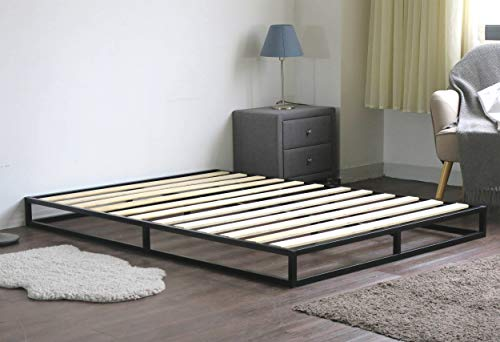 Home Treats Solid Metal Platform Bed Black. Minimalist Bed Frame (Small Double 4ft, No Mattress)