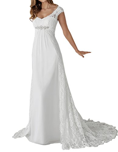 Zhongde Empire Maternity Two Pieces Cap Sleeves Bridal Gown Wedding Dress Bride White Size 14