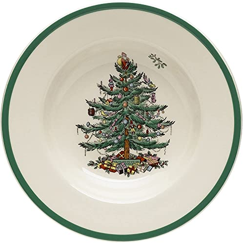 Spode - Christmas Tree Collection - Soup Plate - (9) Inches Earthenware - Dishwasher/Oven/Freezer/Microwave Safe