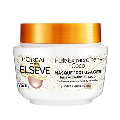 L'Oréal Paris Elseve Huile Extraordinaire Coco Masque à l'Huile Extra-Fine de Coco Nutrition Haute Légèreté pour Cheveux Normaux à Secs 1 Unité