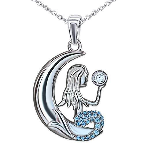 Clever Schmuck Set Silberner Mädchen Anhänger Meerjungfrau im Mond 20 x 17 mm viele Zirkoniasteine hellblau und 1 Zirkonia weiß & Kette Anker 45 cm STERLING SILBER 925