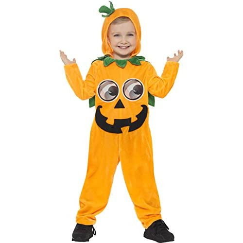 Smiffys Costume da zucca per neonato, Arancione e nero, Tuta con cappuccio e occhi stamp