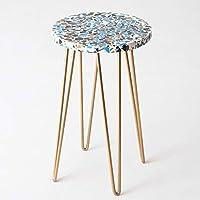 CASADECOR Terrazo Garden Resin Table with Metal Hairpin Legs (Multicolour)